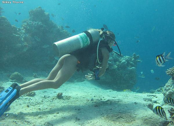 Аквалангистка дрочит бритую писю в недрах океана 2 фото