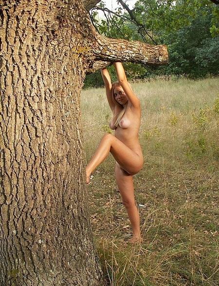 Молодая блонда оголилась на природе 11 фото