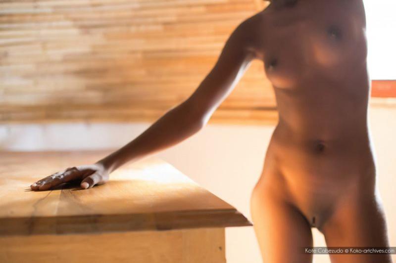 Голая негритянка показывает шоколадное тело на чердаке дома 17 фото