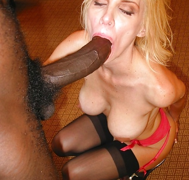Blonde Woman Is Sucking A Black Cock Picture