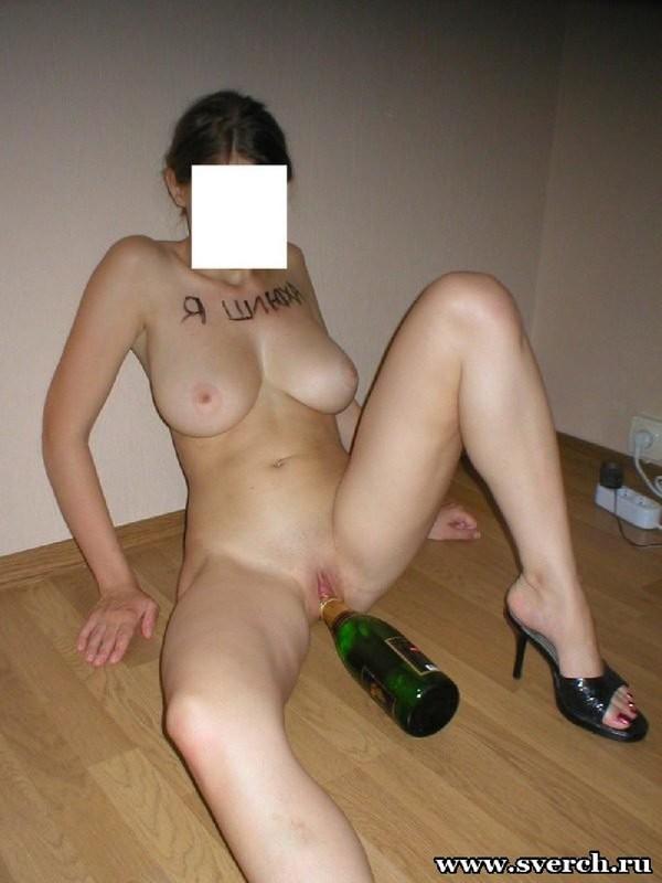 Сисястая прыгает на горлышке бутылки 9 фото