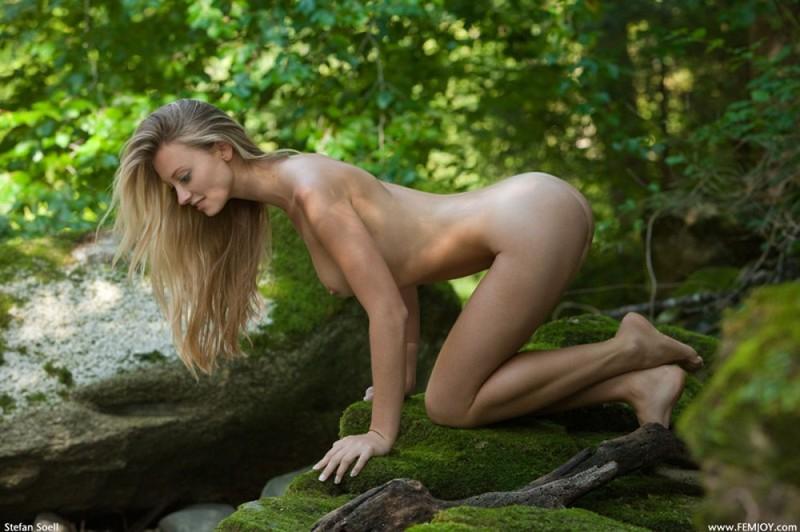 Фигуристая красавица с сочными сиськами 3 размера гуляет в лесу голышом 31 фото
