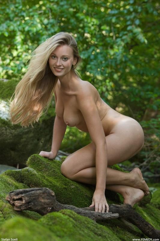 Фигуристая красавица с сочными сиськами 3 размера гуляет в лесу голышом 32 фото