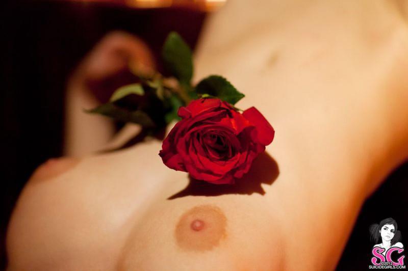 Брюнетка в длинных сапогах снимается у камина с топором и розой 2 фото