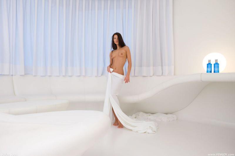 Худенькая брюнетка демонстрирует своё тело в разных позах 27 фото
