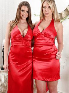 Грудастые Brooke Wylde и Brooklyn Chase снимают красные платья
