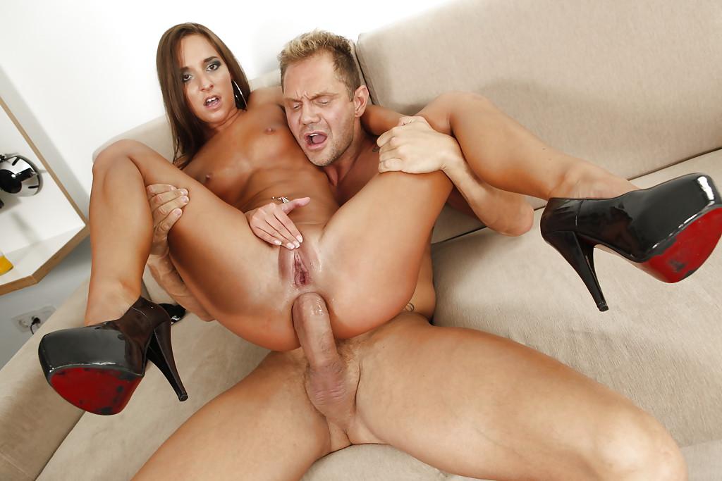 Adorable brunette enjoys massage in big tits porn clip